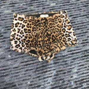 Furry cheetah mini shorts